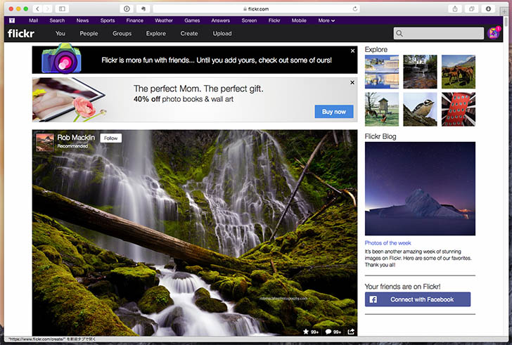 Flickrの画面